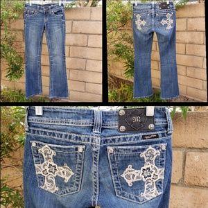 25 women MISS ME cross RHINESTONES lace blue jean
